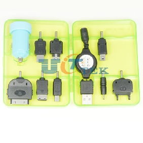 New 8in1 Car Charger with connectors For Phones PSP Ipod Cameras Iphone 5V 2.1A