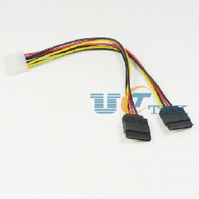 4Pin IDE Male to 2 Serial ATA Hard Drive SATA HDD Power Cable Cord Adapter