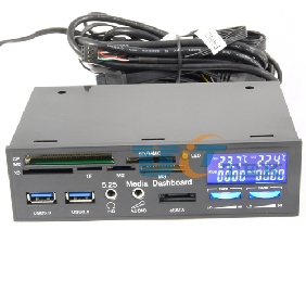 "5.25"" Bay Front Panel 20Pin to USB 3.0 HUB +2.0 Card Reader LCD Temperature Display 2 Fan Controllers e-SATA HD Audio"