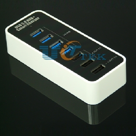 4 Port USB 3.0 HUB + 2A 1A Power Smart Charger for cell phone iPad tablet