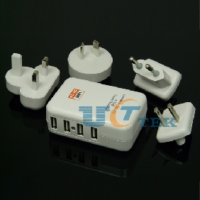 4 Ports Travel Adapter USB AC Wall Power Charger for iPad iPhone iPod Galaxy HTC