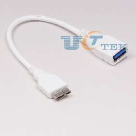 Micro USB 3.0 9pin OTG Host Flash Disk Cable Adapter for Galaxy Note 3 N9000 N9005 20cm White