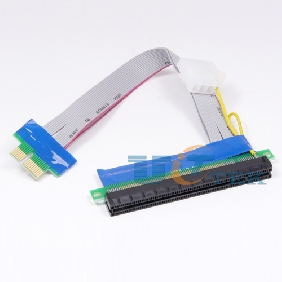 PCI-E 1x To 16x Riser Card Ribbon Extender Extension Cable Adapter w/4pin Power Connector