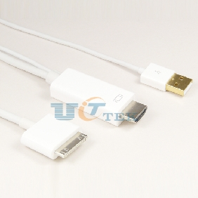 30PIN Dock to HDMI HDTV TV Adapter USB Cable For Apple iPhone4/4S iPad 1/2/3