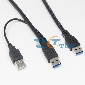 0.6M 2FT USB 3.0 Y-Cable USB 3.0 A Male To A Male + USB2.0 Power supply