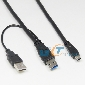 0.6M 2FT USB 3.0 Y-Cable USB 3.0 A Male To MINI 10P Male + USB2.0 Power supply