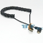 90 Degree Left Angled Mini HDMI Male to HDMI Male Stretch Spring Cable