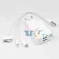 Dual Port USB Power Travel Charger + 2 in 1 USB Cable for iPad iPhone Tab PC EU