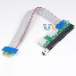 PCI-E 1x To 16x Riser Card Ribbon Extender Extension Cable w/ 4pin 6pin Power Connector New Version