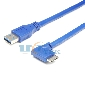 60CM 2FT USB 3.0 Cable Type A-Male straight To Micro B 90 degree Super-Speed 5Gbps Cord Blue
